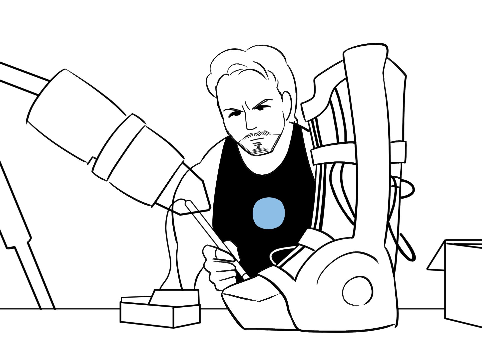 北日本新聞様発行【まんまる】映画イラスト(アイアンマン)を描きました!